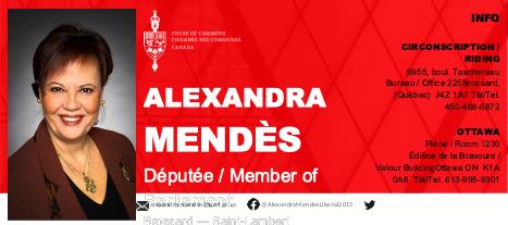 Alexandra Mendès Parliament Member for Brossard and Saint-Lambert